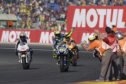 Valentino Rossi, Yamaha Factory Racing and Nicky Hayden, Aspar Team MotoGP Honda