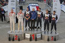 Podium: winners Sébastien Ogier and Julien Ingrassia, Volkswagen Motorsport, second place Kris Meeke and Paul Nagle, Citroën World Rally Team, third place Andreas Mikkelsen and Ola Floene, Volkswagen Motorsport