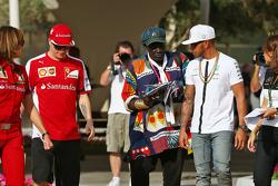 Kimi Raikkonen, Ferrari with Mr Moko, Crown Hearts Jewelry and Lewis Hamilton, Mercedes AMG F1