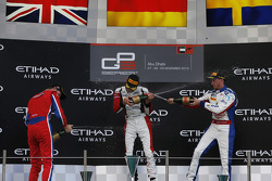 Race 1 Podium: second place Emil Bernstorff, Arden International and winner Marvin Kirchhofer, ART Grand Prix and third place Jimmy Eriksson, Koiranen GP