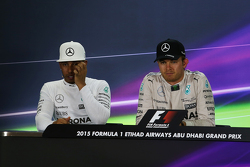 Second place Lewis Hamilton, Mercedes AMG F1 and race winner Nico Rosberg, Mercedes AMG F1 in the FIA Press Conference