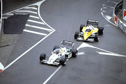 Keke Rosberg, Williams leads Alain Prost, Renault F1 Team