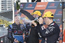 2015 V8 Supercars Champion Mark Winterbottom, Prodrive Racing Australia Ford celebrates on the podium