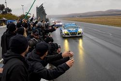 #45 Flying Lizard Motorsports Audi R8 LMS: Darren Law, Tomonobu Fujii, Johannes van Overbeek, Guy Cosmo takes the win