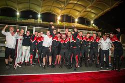 The Audi Sport Team WRT team members celebrate a 1-2-3 finish