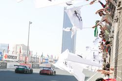 #2 Abu Dhabi Racing Black Falcon Mercedes AMG GT3: Khaled Al Qubaisi, Hubert Haupt, Jeroen Bleekemolen, Maro Engel, Indy Dontje and #16 Black Falcon Mercedes SLS AMG GT3: Adam Christodoulou, Oliver Webb, Patrick Assenheimer, Oliver Morley, Frank Montecalvo