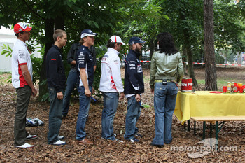 The 5 German current F1 drivers, Nico Rosberg, WilliamsF1 Team with Timo Glock, Toyota F1 Team, Sebastian Vettel, Scuderia Toro Rosso, Adrian Sutil, Force India F1 Team and Nick Heidfeld, BMW Sauber F1 Team make a visit to the campsite
