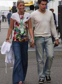 Girlfriend of Timo Glock, Toyota F1 Team, left