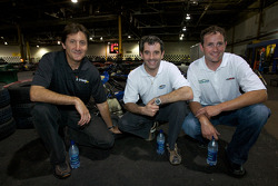 Drivers and media go-kart event: Ron Fellows, ex-race car driver and NAPA Auto Parts 200 spokesperson Bertrand Godin, and Scott Wimmer