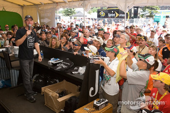 Clint Bowyer answers questions for fans during the Jack Daniels Experience