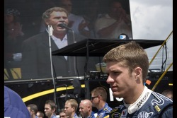 David Ragan listens to the National Anthem
