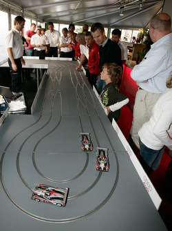 Slot car race in the Audi Sport hospitality