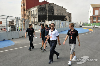Dr. Mario Theissen, BMW Sauber F1 Team, BMW Motorsport Director with Sebastian Vettel, Scuderia Toro Rosso on a trackwalk