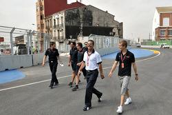 Dr. Mario Theissen, BMW Sauber F1 Team, BMW Motorsport Director with Sebastian Vettel, Scuderia Toro Rosso on a trackwalk
