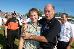Victory celebrations: Andrew Ranger's manager Alan Labrosse and the Mayour of Trois-Rivières