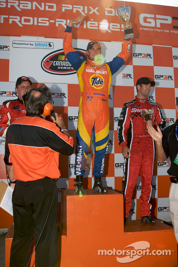 Podium: race winner Andrew Ranger celebrates with Scott Steckly and Jason Hathaway