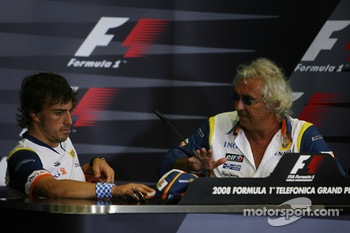 FIA press conference: Fernando Alonso, Renault F1 Team and Flavio Briatore, Renault F1 Team, Team Chief, Managing Director