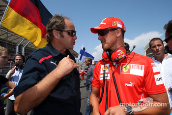 Gerhard Berger, Scuderia Toro Rosso, 50% Team Co Owner and Michael Schumacher, Test Driver, Scuderia Ferrari