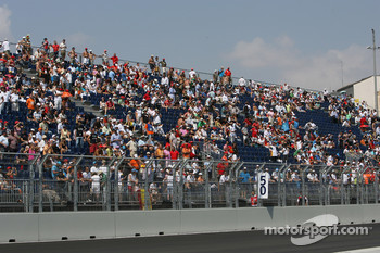 Fans in the grandstands after the retirement of Fernando Alonso