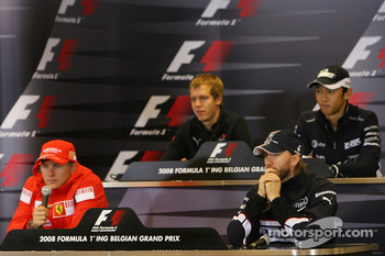 FIA press conference: top left to bottom right, Sebastian Vettel, Scuderia Toro Rosso, Kazuki Nakajima, Williams F1 Team, Kimi Raikkonen, Scuderia Ferrari and Nick Heidfeld, BMW Sauber F1 Team