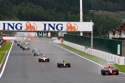 Bruno Senna leads the field in the early stages of the race
