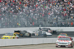 Matt Kenseth, David Gilliland and Chad McCumbee tangle