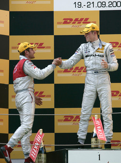 Podium: race winner Paul di Resta, second place Timo Scheider