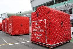 The travel crates of Scuderia Ferrari