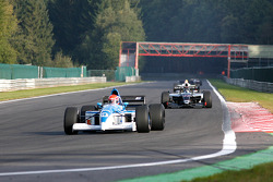 2nd lap at Les Combes: #4 Marijn Van Kalmthout (NL) Van Kalmthout Auto, F1 Tyrell 023 Yamaha 3.0 V10, and #23 Ingo Gerstl (A) TopSpeed, WS Dallara Renault 3.5 V6