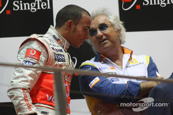 Podium: third place Lewis Hamilton and Flavio Briatore