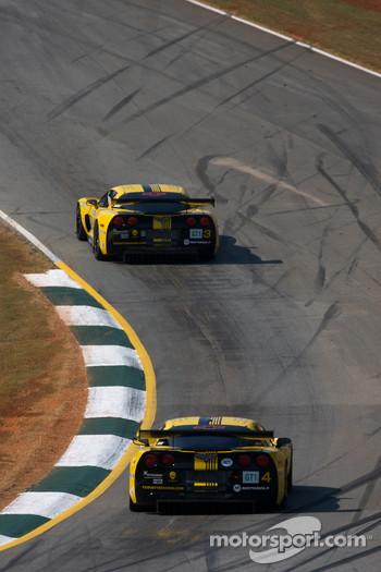 #3 Corvette Racing Chevrolet Corvette C6R: Johnny O'Connell, Jan Magnussen, Ron Fellows and #4 Corvette Racing Chevrolet Corvette C6R: Olivier Beretta, Oliver Gavin, Max Papis