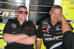 Menards Chevy crew members relax in the garage area