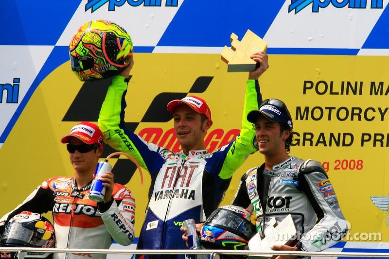 2008: 1. Valentino Rossi, 2. Dani Pedrosa, 3. Andrea Dovizioso