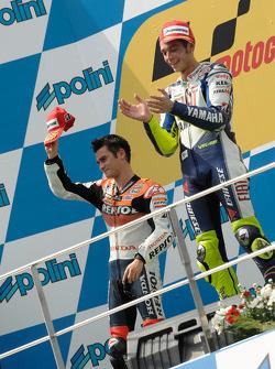 Podium: race winner Valentino Rossi, second place Dani Pedrosa