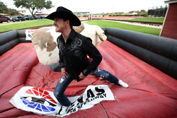 Scott Speed after his maiden ride on a mechanical bull in the Fort Worth Stockyards