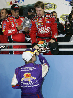 Victory lane: race winner Carl Edwards celebrates with Jamie McMurray