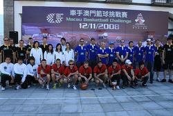 Basketball shootout: the teams pose afterwards