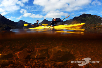 Launceston, Australia: Mark Webber and Emma Weitnauer in action on the kayak leg