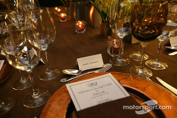 The place setting for NASCAR Sprint Cup Series champion Jimmie Johnson is ready at the Chef's Table at the Waldorf=Astoria in New York City