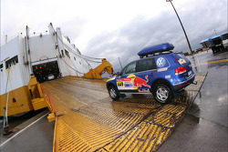 Volkswagen Motorsport team enters the boat at Le Havre for the crossing to Buenos Aires