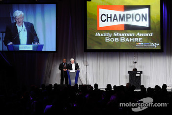 Bob Bahre speaks after receiving the Buddy Shuman Award during the 2008 NASCAR NMPA Myers Brothers Media Luncheon at Cipriani