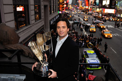 With his No. 48 Lowe's Chevrolet on the street below, 2008 NASCAR Sprint Cup Series Champion winner Jimmie Johnson is shown on top of Times Square Marquee at the Hard Rock Cafe