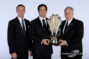 Crew chief Chad Knaus, NASCAR Sprint Cup Series champion Jimmie Johnson and champion car owner Rick Hendrick celebrate their third consecutive championship at the Waldorf=Astoria
