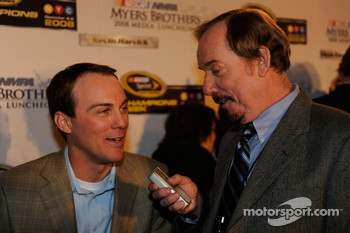 Kevin Harvick talks with media after the 2008 NASCAR NMPA Myers Brothers Media Luncheon