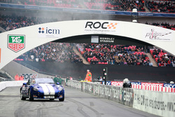 Terry Grant entertains the crowd in his TVR