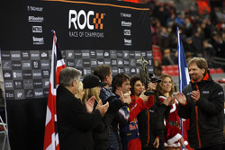 Podium: Race of Champions winner Sébastien Loeb and second place David Coulthard with organiser Frederik Johnson