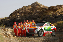 Repsol Mitsubishi Ralliart Team presentation in Morocco: driver Stéphane Peterhansel and co-driver Jean-Paul Cottret, driver Luc Alphand and co-driver Gilles Picard, driver Hiroshi Masuoka and co-driver Pascal Maimon, driver Nani Roma and co-driver Lucas