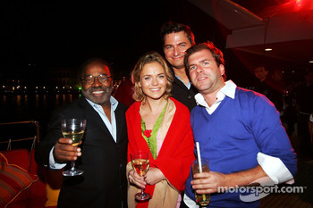 Everett Surratt Sony and guests at the Fly Kingfisher Boat Party