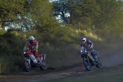 #82 KTM 690: Jakub Przygonski, #1 KTM 690 Rallye: Cyril Despres