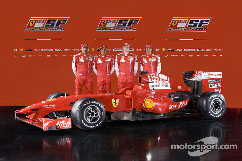 Marc Gene, Felipe Massa, Kimi Raikkonen and Luca Badoer with the new Ferrari F60